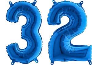 Luftballon Zahl 32 Zahlenballon blau (66 cm)