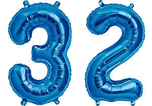 Luftballon Zahl 32 Zahlenballon blau (86 cm)