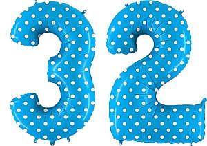 Luftballon Zahl 32 Zahlenballon blau mit weißen Punkten (100 cm)