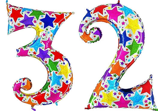 Luftballon Zahl 32 Zahlenballon silber mit bunten Sternen (100 cm)