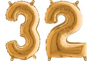 Luftballon Zahl 32 Zahlenballon gold (66 cm)