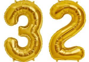 Luftballon Zahl 32 Zahlenballon gold (86 cm)