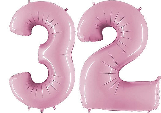 Luftballon Zahl 32 Zahlenballon pastell-pink (100 cm)
