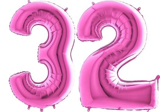 Luftballon Zahl 32 Zahlenballon pink (66 cm)