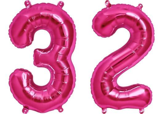 Luftballon Zahl 32 Zahlenballon pink (86 cm)