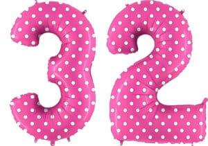 Luftballon Zahl 32 Zahlenballon pink mit weißen Punkten (100 cm)