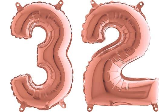 Luftballon Zahl 32 Zahlenballon rosegold (66 cm)