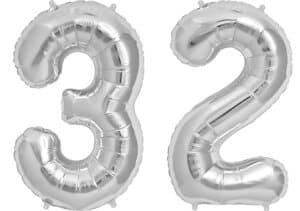 Luftballon Zahl 32 Zahlenballon silber (86 cm)