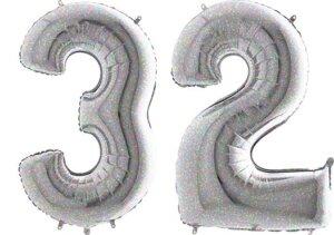 Luftballon Zahl 32 Zahlenballon silber-holographic (100 cm)