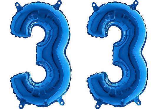 Luftballon Zahl 33 Zahlenballon blau (66 cm)