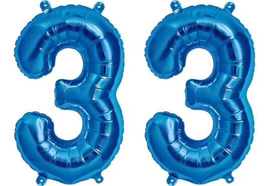 Luftballon Zahl 33 Zahlenballon blau (86 cm)