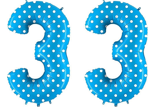 Luftballon Zahl 33 Zahlenballon blau mit weißen Punkten (100 cm)