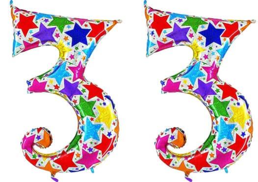 Luftballon Zahl 33 Zahlenballon silber mit bunten Sternen (100 cm)