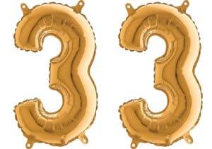 Luftballon Zahl 33 Zahlenballon gold (66 cm)