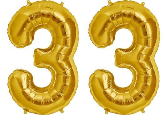 Luftballon Zahl 33 Zahlenballon gold (86 cm)