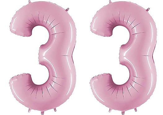 Luftballon Zahl 33 Zahlenballon pastell-pink (100 cm)