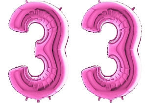 Luftballon Zahl 33 Zahlenballon pink (66 cm)