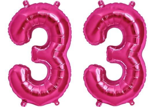 Luftballon Zahl 33 Zahlenballon pink (86 cm)