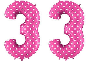 Luftballon Zahl 33 Zahlenballon pink mit weißen Punkten (100 cm)