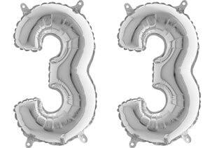 Luftballon Zahl 33 Zahlenballon silber (66 cm)