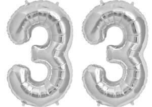 Luftballon Zahl 33 Zahlenballon silber (86 cm)