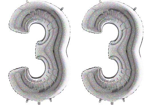 Luftballon Zahl 33 Zahlenballon silber-holographic (100 cm)