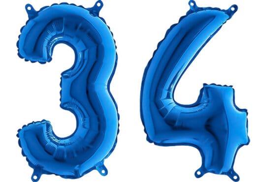 Luftballon Zahl 34 Zahlenballon blau (66 cm)
