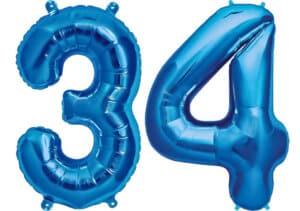 Luftballon Zahl 34 Zahlenballon blau (86 cm)