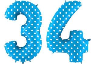 Luftballon Zahl 34 Zahlenballon blau mit weißen Punkten (100 cm)