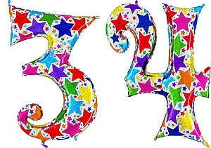Luftballon Zahl 34 Zahlenballon silber mit bunten Sternen (100 cm)