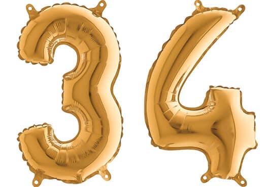 Luftballon Zahl 34 Zahlenballon gold (66 cm)