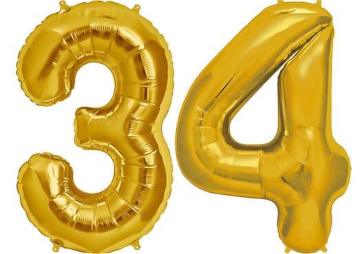 Luftballon Zahl 34 Zahlenballon gold (86 cm)