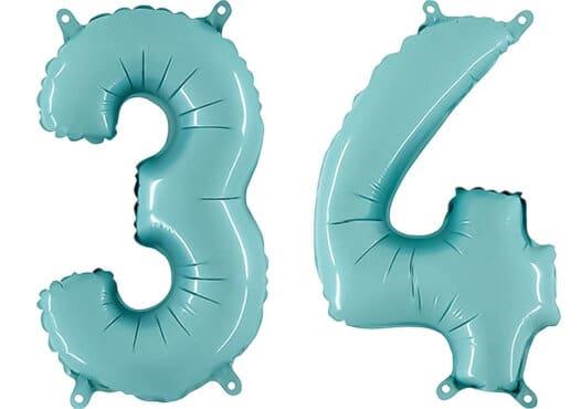 Luftballon Zahl 34 Zahlenballon pastell-blau (100 cm)