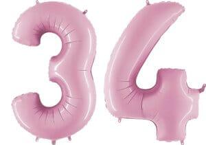 Luftballon Zahl 34 Zahlenballon pastell-pink (100 cm)