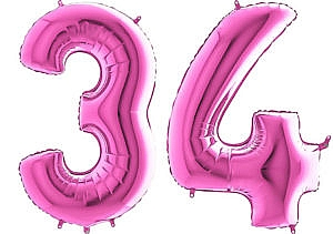 Luftballon Zahl 34 Zahlenballon pink (66 cm)