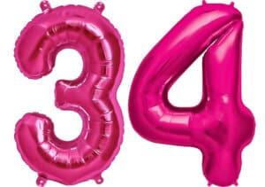 Luftballon Zahl 34 Zahlenballon pink (86 cm)