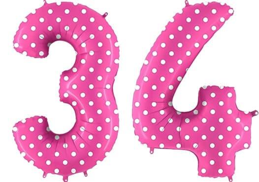 Luftballon Zahl 34 Zahlenballon pink mit weißen Punkten (100 cm)