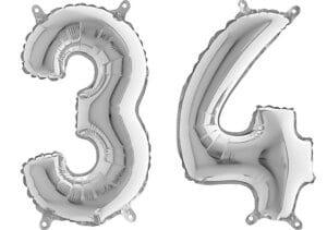 Luftballon Zahl 34 Zahlenballon silber (66 cm)
