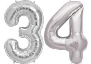 Luftballon Zahl 34 Zahlenballon silber (86 cm)