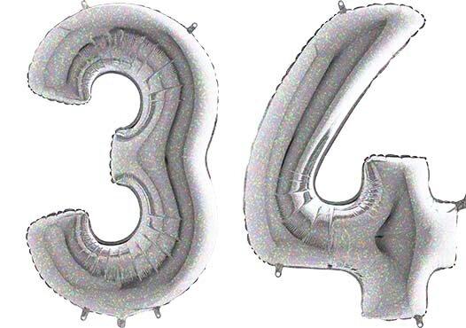Luftballon Zahl 34 Zahlenballon silber-holographic (100 cm)