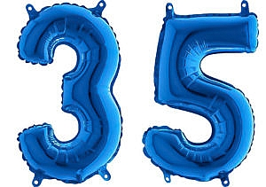 Luftballon Zahl 35 Zahlenballon blau (66 cm)