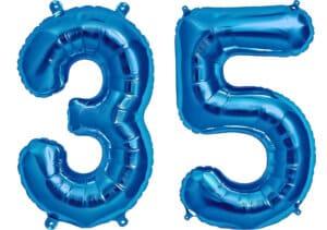 Luftballon Zahl 35 Zahlenballon blau (86 cm)