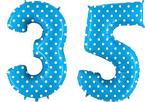Luftballon Zahl 35 Zahlenballon blau mit weißen Punkten (100 cm)
