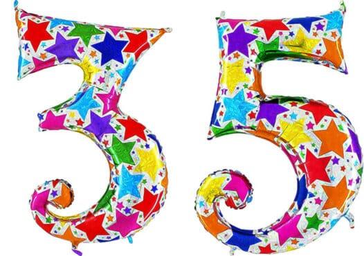 Luftballon Zahl 35 Zahlenballon silber mit bunten Sternen (100 cm)