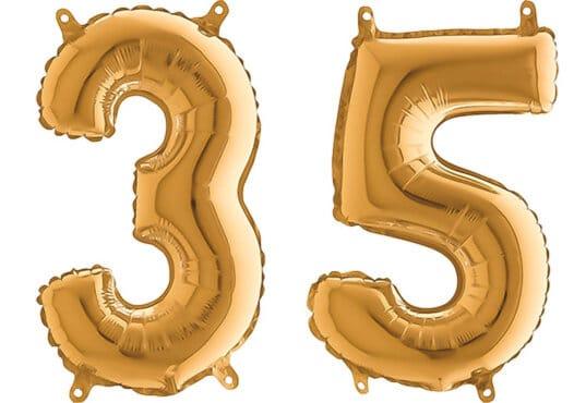 Luftballon Zahl 35 Zahlenballon gold (66 cm)