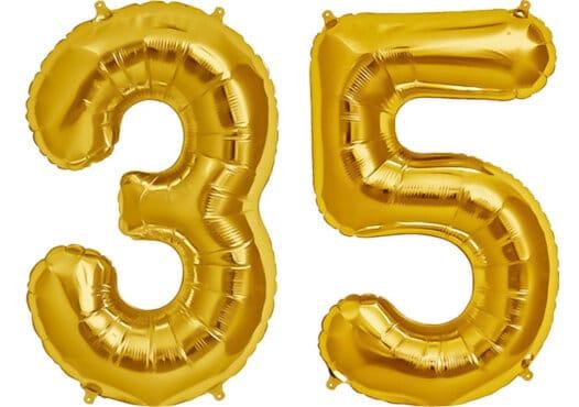 Luftballon Zahl 35 Zahlenballon gold (86 cm)
