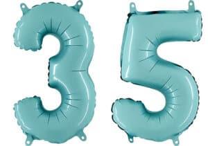 Luftballon Zahl 35 Zahlenballon pastell-blau (100 cm)