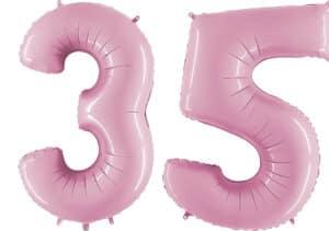 Luftballon Zahl 35 Zahlenballon pastell-pink (100 cm)