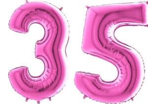 Luftballon Zahl 35 Zahlenballon pink (66 cm)