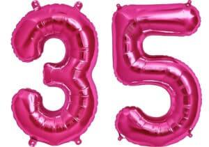 Luftballon Zahl 35 Zahlenballon pink (86 cm)